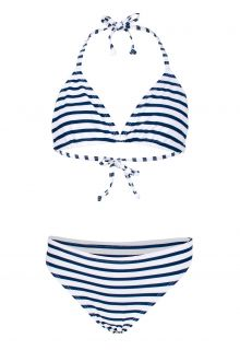 JUJA---Bikini-for-girls---Stripy---White/Blue