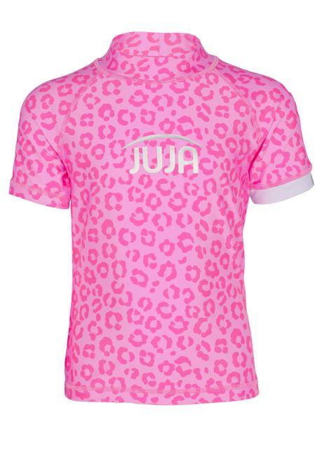 JUJA---UV-Swim-shirt-for-girls---short-sleeves---Leopard---Pink