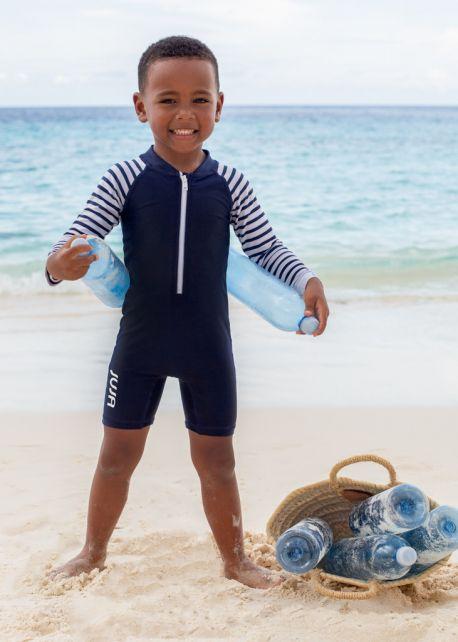 JUJA---UV-Swim-suit-for-babies---longsleeve---Stripy---Darkblue