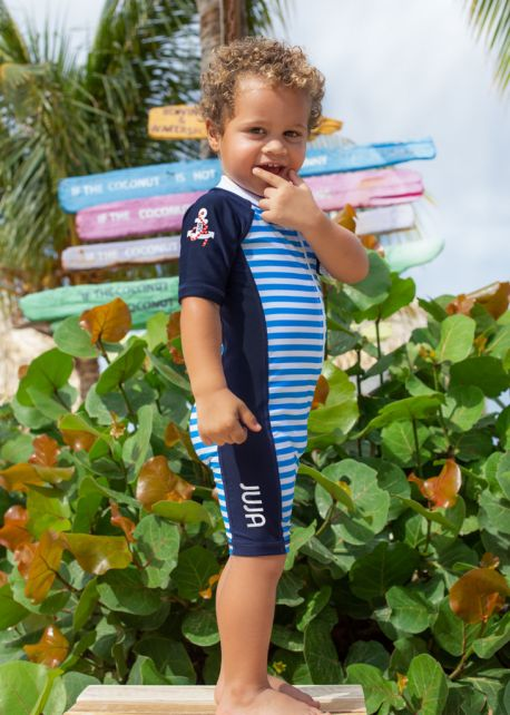 JUJA---UV-Swim-suit-for-babies---short-sleeves---Captain---Blue